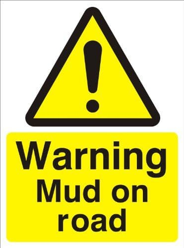 Warning Mud On Road - Health and Safety Sign (WAC.54)