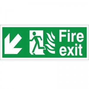 Fire Exit - Down / Left Arrow - Healthcare Establishment Health and Safety Sign (HM.06)
