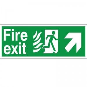 Fire Exit - Up / Right Arrow - Healthcare Establishment Health and Safety Sign (HM.07)