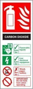 Carbon Dioxide Fire Extinguisher - Health & Safety Sign (FI.06) - CLEARANCE