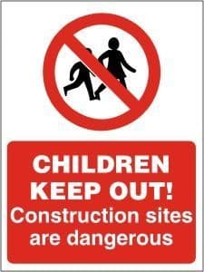CHILDREN KEEP OUT! Construction Sites are Dangerous - Health & Safety Sign (PRC.03) Rigid Plastic