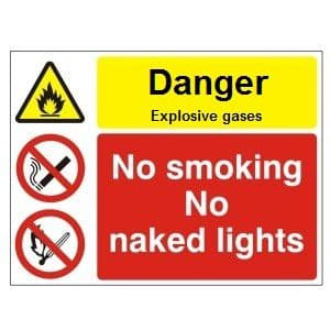 Danger Explosive Gas No Smoking No Naked Lights - Health and Safety Sign (MUL.63)