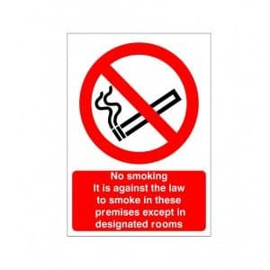 No Smoking Except In Designated Rooms - Health and Safety Sign (PRS.28)