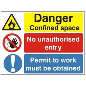 Danger Confined Space - Health and Safety Sign (MUL.81) - We stock one of the best varieties of health and safety signs online, at exceptionally low prices!