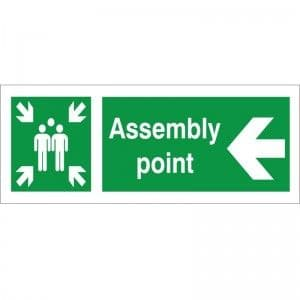 Assembly Point - Left Arrow - Health and Safety Sign (FE.37)