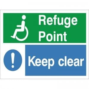 Refuge Point Keep Clear - Health and Safety Sign (FER.11)