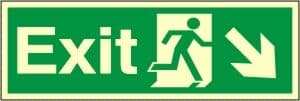 Exit Arrow Down Right - Fire Safety Sign (EX.43)