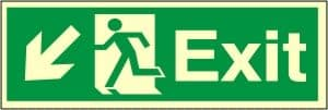 Exit Left Arrow Down - Fire Safety Sign (EX.44)