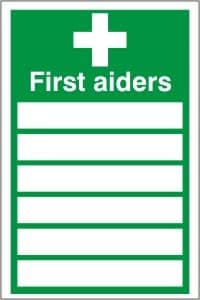 FIRST AIDERS LIST SIGN - HEALTH & SAFETY SIGN (FA.19)