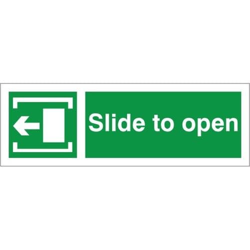 Slide To Open - Left Arrow - Fire Exit Health and Safety Sign (FED.03)