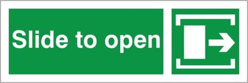 Slide To Open - Right Arrow - Fire Exit Health and Safety Sign (FED.04)