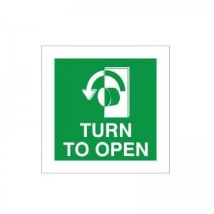 Turn To Open - Left - Fire Exit Health and Safety Sign (FED.05)
