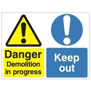 Warning Demolition In Progress Keep Out - Health and Safety Sign (MUL.08) - At a minuscule £6.39, Safety Services Direct offer bargain prices on a huge range of health and safety signs!!