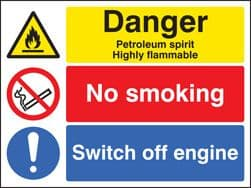 Danger Petroleum Spirit Highly Flammable - Health and Safety Sign (MUL.65)