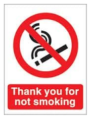 Thank you for not smoking - Health and Safety No Smoking Sign - B-Stock.