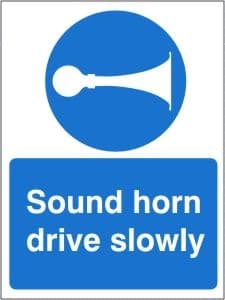 Sound Horn Drive Slowly - Health and Safety Sign (MAG.13)