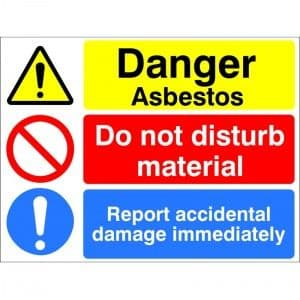 Danger Asbestos Do Not Disturb Material Health & Safety Sign