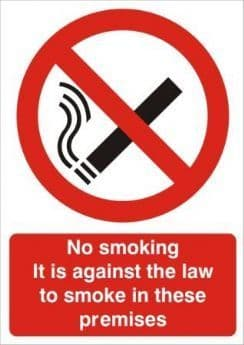 No Smoking It Is Against The Law To Smoke In These Premises - Health and Safety Sign (PRS.26) - CLEARANCE