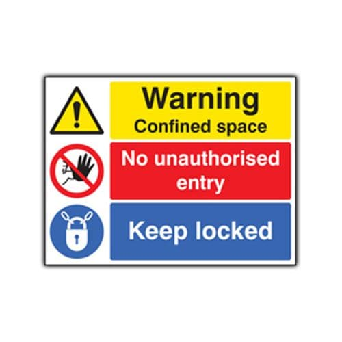 Danger Confined Space Keep Locked - Health and Safety Sign (MUL.85)