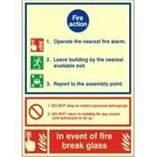 PHOTOLUMINESCENT FIRE ACTION NOTICE - FIRE HEALTH & SAFETY SIGN - (PP71W)
