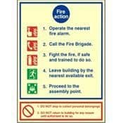 PHOTOLUMINESCENT FIRE ACTION NOTICE - FIRE HEALTH & SAFETY SIGN - (PP72W)