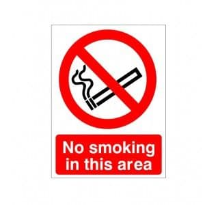 No Smoking In This Area - Fire Health and Safety Sign (PRS.03)
