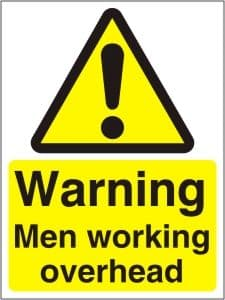 Warning Men Working Overhead - Health and Safety Sign (WAC.03)