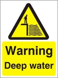 Warning Deep Water - Health and Safety Sign (WAC.16)