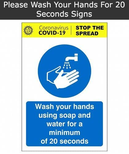 Wash Your Hands For A Minimum Of 20 Seconds Sign