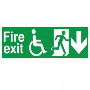 Fire Exit - Refuge - Down Arrow - Health and Safety Sign (FER.04)