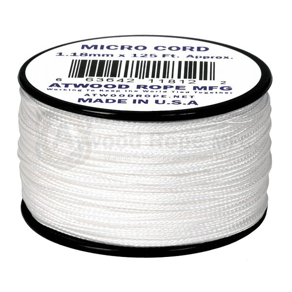 Micro Cord - 1.18mm Micro Paracord - 125ft - White