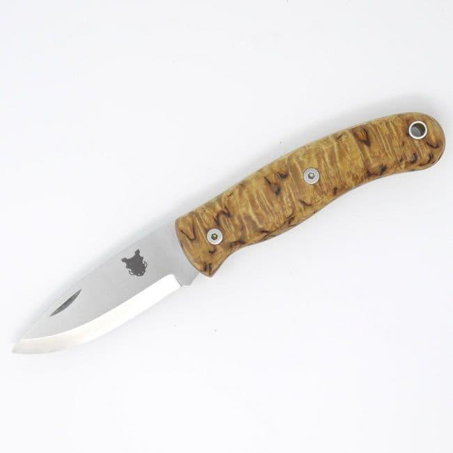 Mk III TBS Boar EDC Folding Pocket Knife - Curly Birch - Scandi