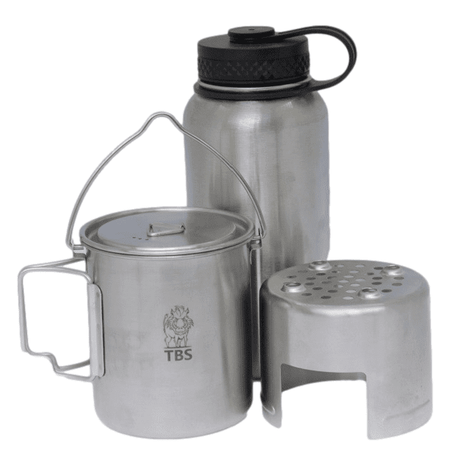 TBS 750ml Stainless Steel Billy Can Cup, Stove Unit & Water Bottle