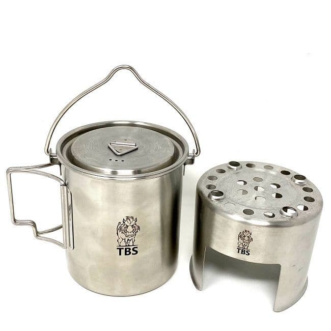 TBS 750ml Stainless Steel Billy Can Cup with Bail Handle, Lid and Stove Unit