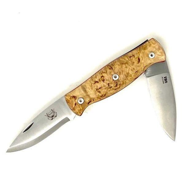 TBS Wildcat Pocket Knife - Curly Birch