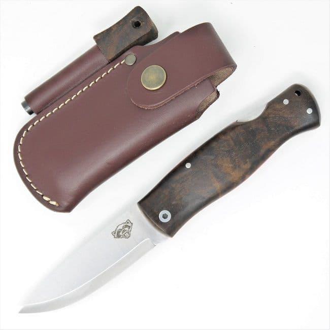 TBS Wolverine Puukko Folding Knife - Turkish Walnut - Belt Pouch & Firesteel