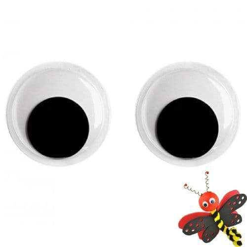 16mm  Diameter - Moving Wobbly Eyes  - Pack of 10  (26116)