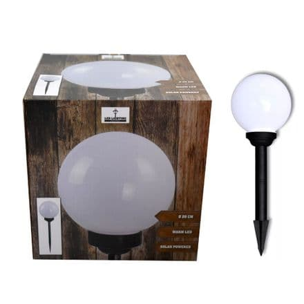 20cm LED Solar Globe  Stake Light - Large -  White