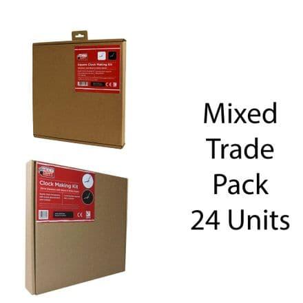 24 x Clock Making Kits - Mixed -  30cm Trade Pack