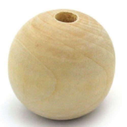 70mm Wooden Balls - Half Drilled -  Beechwood   - (36149)
