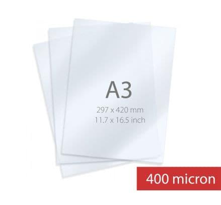 A3 Sheet  - Polyester (Pet) High Gloss Transparent Screen Material 400micron (15109)