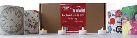 Christmas Lantern Making Kit  - 4 Pack  With  LED Tea Lights