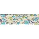 Cotton Bias Binding - 20mm - Ditsy Print Turq/Cream- 25mtrs