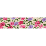Cotton Bias Binding - 20mm - Floral Print Pink/Cream/Green- 25mtrs