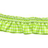 Gingham Trim- 25mm - Bright Green -12.5mtrs