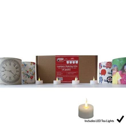 Lantern Making Kit  - 4 Pack  With  LED Tea Lights