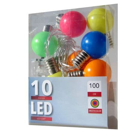 LED  Multi Colour Bulb String Lights  - 30mm - String of 10