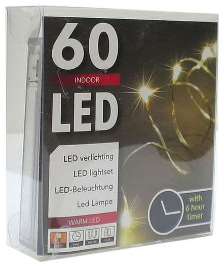 LED  String Chain Fairy Lights with Silver Wire -  60 Micro LEDs  6mtr length  Plus TIMER