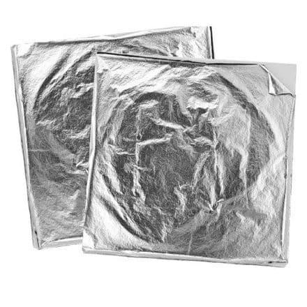 Metallic Metal Foil Sheets - Silver- 14cm x 14cm  - Pack 10    (15311)