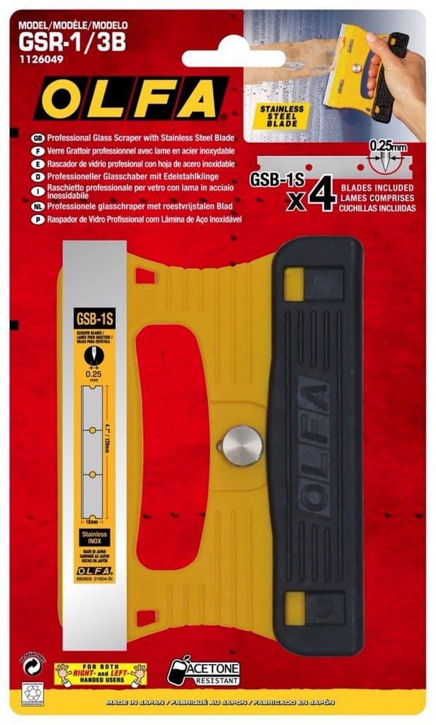 Olfa Professional Glass Scraper 120mm + 3 Spare Blades      OLF/GSR13B
